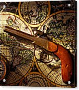 Old Gun On Old Map Acrylic Print