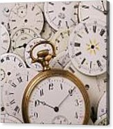 Old Pocket Watch On Dail Faces Acrylic Print by Garry Gay