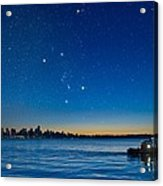 Orion Over Vancouver, Canada Acrylic Print by David Nunuk