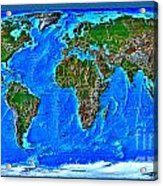 Physical Map Of The World Acrylic Print by Theodora Brown