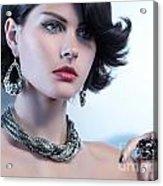 Portrait Of A Beautiful Woman Wearing Jewellery Acrylic Print