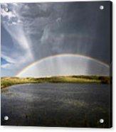 Prairie Hail Storm And Rainbow Acrylic Print