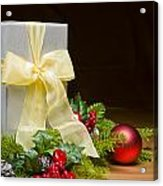 Present Decorated With Christmas Decoration Acrylic Print
