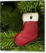 Present Sock Shape Short Bread Cookie In Christmas Tree Acrylic Print