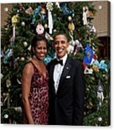President And Michelle Obama Pose Acrylic Print