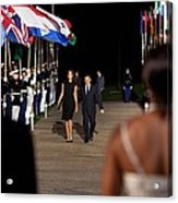 President And Michelle Obama Receive Acrylic Print by Everett