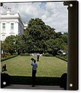 President Barack Obama Tosses Acrylic Print by Everett
