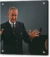 President Lyndon Johnson Speaks Acrylic Print by Everett