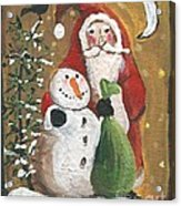 Primitive Santa And Snowman Crow Acrylic Print