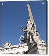 Quirinal Obelisk In Front Of Palazzo Del Quirinale. Rome Acrylic Print