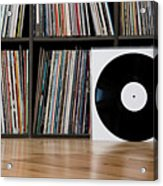 Records Leaning Against Shelves Acrylic Print by Halfdark