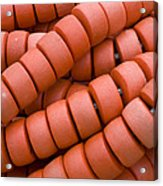 Red Fishing Net Floats Acrylic Print by Frank Tschakert