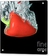 Red Pepper Falling Into Water Acrylic Print