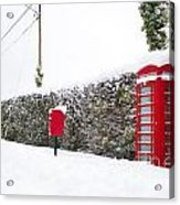 Red Phonebox In The Snow Acrylic Print