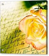 Red Yellow Rose Over A Hand Written Letter Acrylic Print