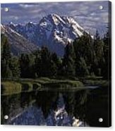 Reflection Of The Teton Mountans Acrylic Print by Richard Nowitz