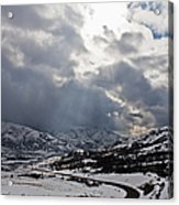 Road Through A Snowy Mountain Landscape Acrylic Print