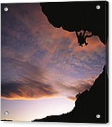 Rock Climbing Out A Steep Roof In Sinks Acrylic Print