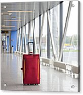 Rolling Luggage In An Airport Concourse Acrylic Print