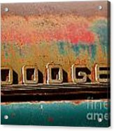Rusted Antique Dodge Car Brand Ornament Acrylic Print