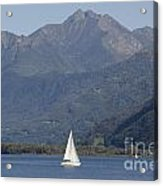Sailing Boat And Mountain Acrylic Print by Mats Silvan