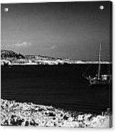 Sailing Boat Moored In A Quiet Bay Near Cape Gkreko Greco Republic Of Cyprus Acrylic Print by Joe Fox