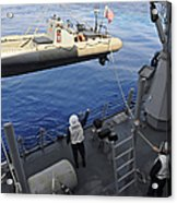 Sailors Lower A Rigid Hull Inflatable Acrylic Print