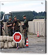 Scenery Of A Checkpoint Used Acrylic Print by Luc De Jaeger