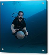 Scuba Diver Uses A Diver Propulsion Acrylic Print