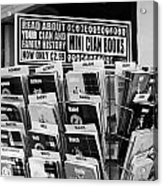 selection of scottish and irish clan history books in a shop in Scotland UK Acrylic Print