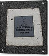 Shea Stadium Second Base Acrylic Print by Rob Hans
