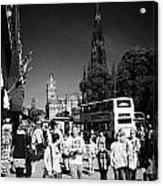 Shoppers And Tourists On Princes Street Edinburgh Scotland Uk United Kingdom Acrylic Print
