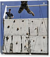 Soldier Rappels Off A Tower While Acrylic Print