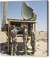 Soldiers Checking A Radar System Acrylic Print