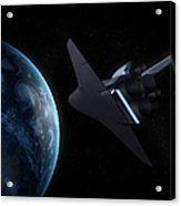 Space Shuttle Backdropped Against Earth Acrylic Print