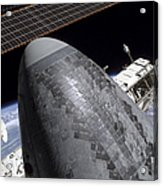 Space Shuttle Discovery Docked Acrylic Print
