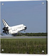 Space Shuttle Discovery Lands On Runway Acrylic Print