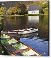 St. Finbarres Oratory And Rowing Boats Acrylic Print by Ken Welsh