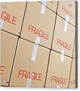 Stacks Of Cardboard Boxes Marked 'fragile' Acrylic Print