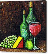 Still Life With Wine And Cheese Acrylic Print