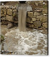 Storm Sewer Water Rushes Into A Stream Acrylic Print