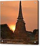 Stupa Chedi Of A Wat In Ayutthaya Thailand Acrylic Print