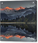 Sunset Reflection Of Lake Matheson Acrylic Print by Colin Monteath