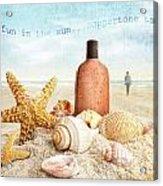 Suntan Lotion And Seashells On The Beach Acrylic Print