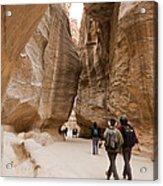 The Slot Canyons Leading Into Petra Acrylic Print