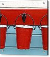 Three Red Buckets Acrylic Print by John Short