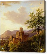 Travellers On A Path In An Extensive Rhineland Landscape Acrylic Print