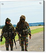 Two Snipers Of The Belgian Army Dressed Acrylic Print by Luc De Jaeger