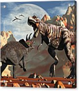 Tyrannosaurus Rex And Triceratops Meet Acrylic Print