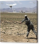 U.s. Army Soldier Launches An Rq-11 Acrylic Print